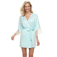 Women's Flora by Flora Nikrooz Lace-Trim Charmeuse Wrap Robe