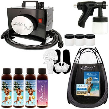 Salon Pro T200-12, 2 Stage Turbine Sunless HVLP Spray Tanning System; Simple Tan 4 Solution Variety Pack, Tent, Accessories and Video Link