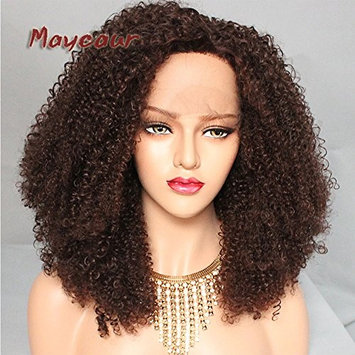 Maycaur African American Wigs 180 Density Afro Kinky Curly Synthetic Lace Front Wigs 20Inch