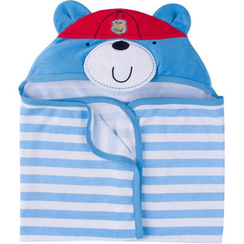 born Baby Boy Terry Hooded Bath Wrap with 3D Applique