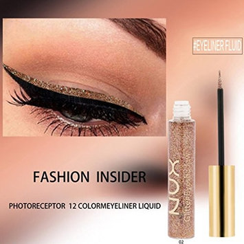 YOYORI Liquid Eyeshadow, 12 Color Metallic Shiny Smoky Eyes Eyeshadow Waterproof Glitter Liquid Eyeliner