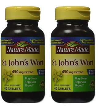 Nature Made St. John's Wort, 450mg - Two Bottles each of 40 Capsules