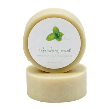 Peppermint Oil Shave Soap by MoonDance Soaps - Handmade Soap with Bentonite Clay and Peppermint Essential Oil (One Round)