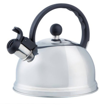 Kennedy International Inc Chrome/Black Handle 2.6 Quart Stainless Steel Tea Kettle