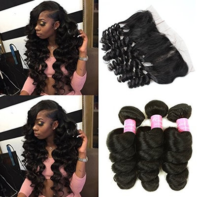 Mink Hair 7A Peruvian Loose Wave Bundles with Frontal (16 18 20+14) Unprocessed Virgin Loose Wave Human Hair Weave Extensions with 13X4 Ear to Ear Free Part Lace Closure Natural Color