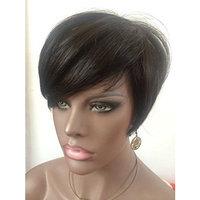 WOB Hair Rihanna Style None Lace Wig Human Hair 150% Density Glueless Black Short wig with Bang 8inch 4# Hair Color