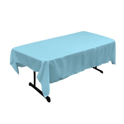 LA Linen TCpop60x84-TurquoiseLghtP40 Polyester Poplin Rectangular Tablecloth, Turquoise Light - 60 x 84 in.