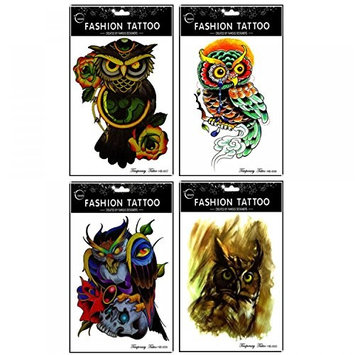 GGSELL GGSELL waterproof and non toxic 4pcs different colorful owl temporary tattoos designs in one package