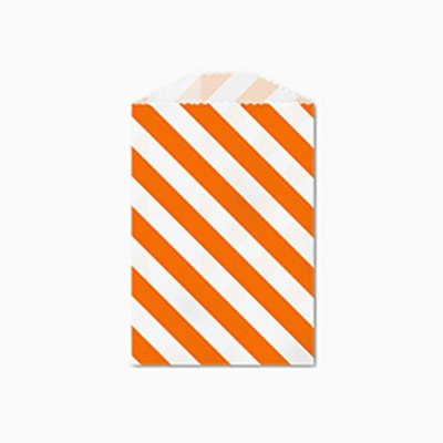 25 Orange and White Diagonal Stripe Little Bitty Bags 2.75 X 4 Inches
