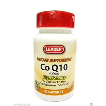 Leader Co Q10 Vitamin Capsules 200 mg, 30 Count Per Bottle (5 pack)