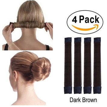 4 Pcs French Bun Maker Women Girls Kids Magic Hair Styling Donut Bun Maker Former Foam French Twist Hairstyle Clip DIY Doughnuts Hair Bun Tools (6#Dark Brown)