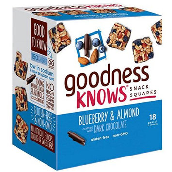 goodnessKNOWS Blueberry, Almond & Dark Chocolate Gluten Free Snack Square Bars 18-Count