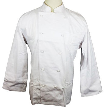 Dickie's Dickies Hospitality CW070101 White Knot Button Grand Master Chef Coat Jacket, 46 Long