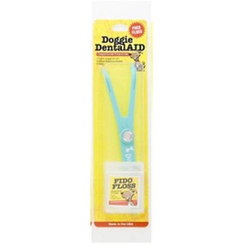 Doggie DentalAID 020-04 Turquoise Fido Floss Holder with White Letters