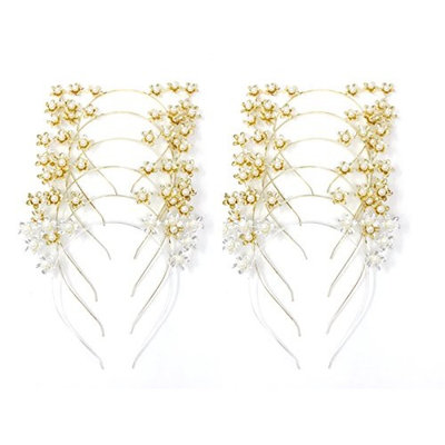 Flower Cat Ear Pearl Gold and Silver Headband, Party Costume Decoration,12 pcs, 10 gold 2 silvers