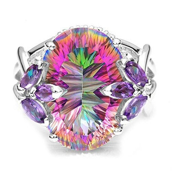 Ⓙ➤✎✎✎Europe and America inlaid colorful zircon Princess ring❤❤❤