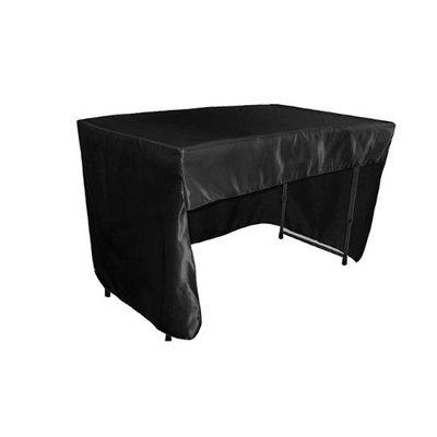LA Linen TCbridal-OB-fit-48x30x30-BlackB24 Open Back Fitted Bridal Satin Classroom Tablecloth Black - 48 x 30 x 30 in.