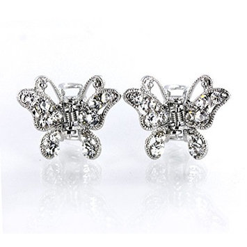 DoubleAccent Hair Jewelry Gradiated Color Small Butterfly Hair Clip with Simulated Crystal Set Of Two, White