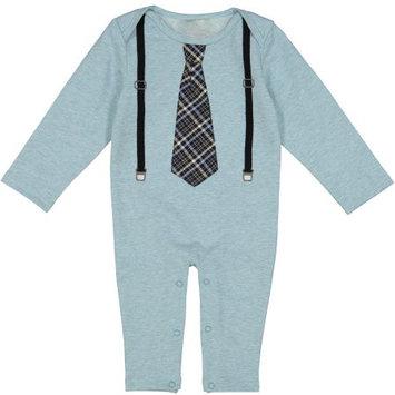 G-Cutee Newborn Baby Boy Light Blue Romper with Black Suspenders & Tie