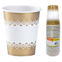 Hanna K Signature 2184939 9 oz Precious Gold Paper Hot-Cold Cup - Pack of 36 & 24 per Pack