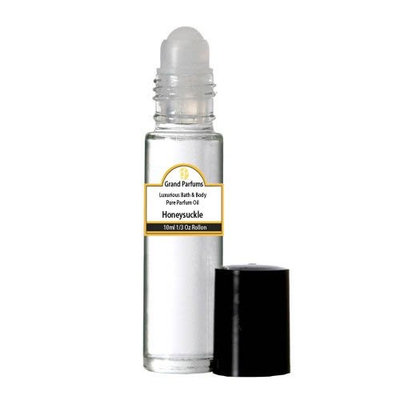 Grand Parfums Perfume Oil - Uncut Alcohol Free Body Oil Honeysuckle Fragrance 1/3 oz bottle with Roll on
