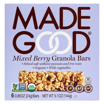 Nassau Candy 966603 5.1 oz Made Good Mixed Berry Granola Bar - Pack of 6