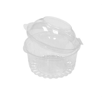 Pactiv 10845 12 oz Hinged Bowl with Dome Lid, Clear