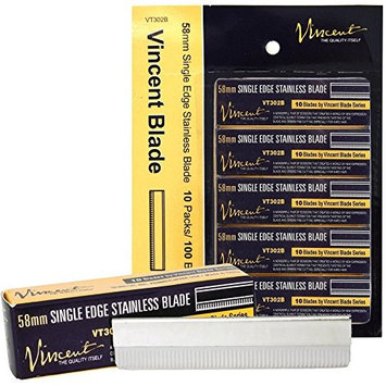 Vincent 58mm Single Edge Stainless Blades VT302B 1 Carton