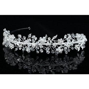 Handmade Flower Leaf Bridal Headband Tiara - Clear Crystal silver Plated T770