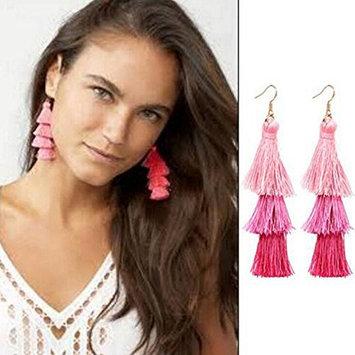 Missgrace Thread Long Tassel Pink Earrings Rhinestone Drop Statement Fringe Earrings for Women