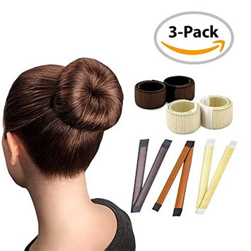 Magic Hair Bun Maker / 3 PACK/Multi Colors/Perfect Hair Bun Making Tool/Donut Bun DIY Hair Styling/Hair Bun Shaper/Ballet Hair Bun
