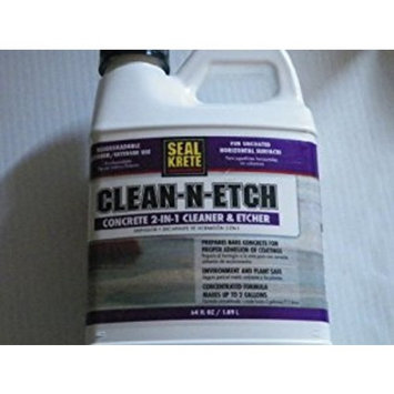 Seal-Krete 411000 Clean-N-Etch Concrete 2-in-1 Cleaner & Etcher, 64 oz