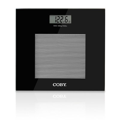 Coby Digital Glass Body Weight Bathroom Scale with Step-On Technology, 400 Pounds, Ultra Slim Modern Design, Sleek Black
