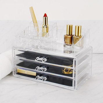 Kiera Grace 2-Piece Makeup and Jewelry Organizer, 14 Compartments/3 Drawers