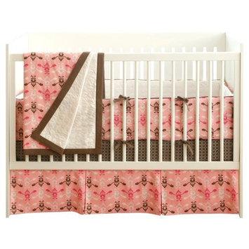 JJ Cole 4 Piece Crib Bedding Set in Pink Vintage (Discontinued by Manufacturer)