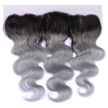 Romantic Angels Lace Frontal Closure 13×4 Ombre Body Wave Free Part Closure Natural Black Silver Gray #1B/Grey (20'')