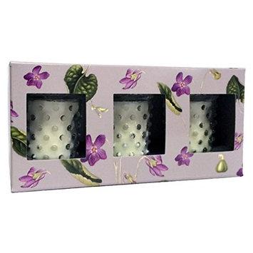 Simpatico No. 83 Violet 3 Piece Hobnail Votive 3.5 oz Candle Gift Set