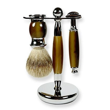 3 Piece Kaliandee Shaving Set with Silvertip Brush in Chrome and Horn, Fiore Razor, and Horn & Chrome Stand