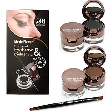 Eyebrow Kit Dark Brown, Makeupstore 4 in 1 Gel Eyeliner and Eyebrow Powder Kit Brown Black Water-proof with Eye Liner Brush
