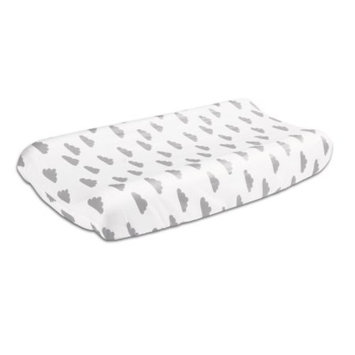 The Peanut Shell Baby Contoured Changing Pad Cover - Grey Cloud on White Celestial Print - 100% Cotton Sateen Fabrics, Fits 32 by 16 Inch Pads