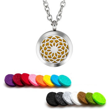 Plant Guru Essential Oil Diffuser Necklace Aromatherapy 25mm Stainless Steel Locket Pendant with 24 Inch Adjustable Chain, 15 Washable Refill Felt Pads. (Sunflower)