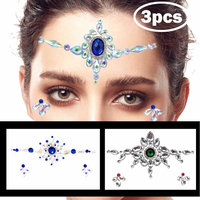 Zinspire Temporary Tattoos,Mermaid Crystals Face Gems Glitter,Rhinestone Rave Festival Jewels Stick,Bindi Stickers, Eyes Body, Music Festivals Gold Silver