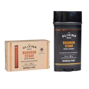 Bourbon Cedar Exfoliating Body Bath Bar Soap & Aluminium Free Deodorant 2 Piece Set