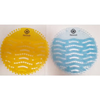 Urinal Screen Splash Mat. Mixed Multi Pack 10 Pieces. Popular Mango and Ocean Mist Fragrances. Strong Urinal Sieve Guard. Long Lasting Pleasant Fresh Scent. More Powerful With Longer Bristles. Combats Unpleasant Odours. Fits Any Urinal Including Waterless Urinals. Helps Combat Splashing Stops Blockages From Discarded Chewing Gum, Cigarettes and Toilet Tissue. Keeps The Facilities Cleaner and More Hygienic Than Standard Urinal Screens. Easy to Use Date Tabs For Regular Changing.