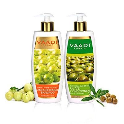 Amla with Shikakai & Reetha Shampoo and Olive Conditioner - ★ Hair Fall & Damage Control Shampoo - ★- Each Pack of 350ml - Each 12.31 Oz - Vaadi Herbals