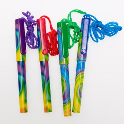 Oriental Trading Company Tie-Dyed Pens on A Rope