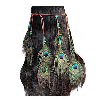 Indian Peacock Feather Headdress Headband Bohemian Tassel Hairband Head Chain Headwear Hair Styling Accessories for Women Girls