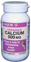 MAJOR CALCIUM 500MG CHEW TABS CALCIUM-500 MG Off White 60 TABLETS UPC