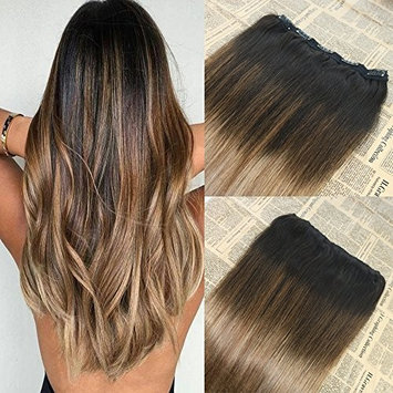18 inch 70g Color #2 Fading to #6 and #18 Highlight One Piece Clip in Hair Extension Balayage Omber Clip Remy human hair extensions Unprocessed Hair Extensions Human Hair Clip in Extensions Full Head