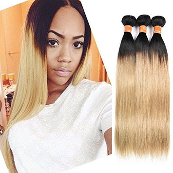 Malaysian Hair 8a 100% Virgin Hair Silky Straight Weft 3 Bundles Ombre Blonde Human Hair Extensions Color #1b/27(14